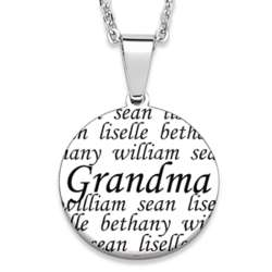 Stainless Steel Grandma Family Necklace with Names