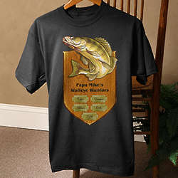 Personalized Black Fisherman's Plaque Fishing T-Shirt