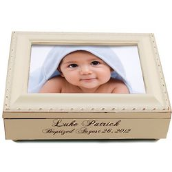 Engraved Baptism Frame Music Box