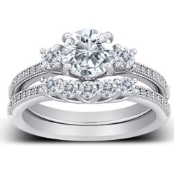Cubic Zirconia Sterling Silver 2-Piece 3-Stone Wedding Ring Set