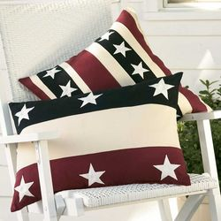 "18"" Weather-Resistant Cotton Americana Stripes Pillow"