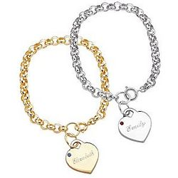 Personalized Engraved Name and Birthstone Heart Charm Bracelet