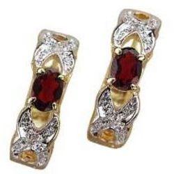 Garnet and Cubic Zirconia Earrings