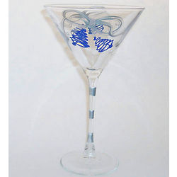 Blue Holiday Bells Martini Glass