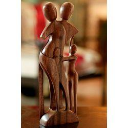 Family Scene Wood Sculpture
