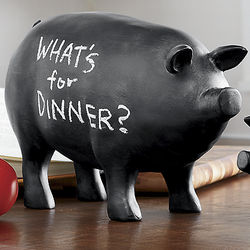 Cast Resin Large Chalkboard Pig