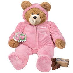 Lil' Hunka Love Hoodie-Footie Teddy Bear with Roses and Fudge