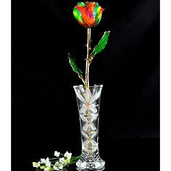24K Gold Trimmed Aurora Rainbow Rose with Crystal Vase