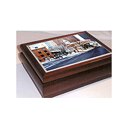 Cherry Wood Music Box with Scenic Tile of Quincy Market