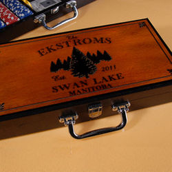 Personalized Cabin Series Poker Set with Spruce Image