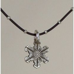 Snowflake Pendant on Dramatic Black Chain