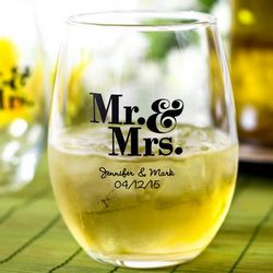 Set of 48 Personalized Stemless Wine Glasses