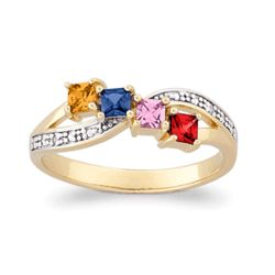 Two Tone Mother's Square Birthstone & Diamond Ring