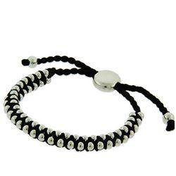 Black Beaded Engravable Friendship Bracelet
