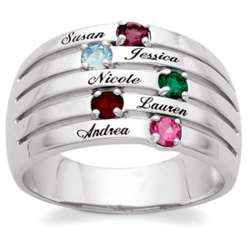 Family Name and Birthstone Domed Ring