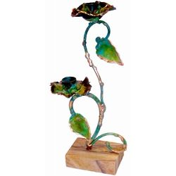Green Patina Brass Vine Candlesticks