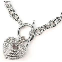 Crystal Heart Charm Link Necklace