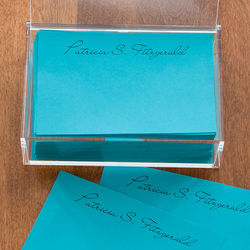 Personalized Teal Notepads and Caddy
