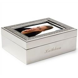 Engravable Glitter Galore Photo Lid Trinket Box