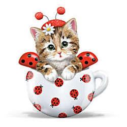 Cute As a Bug Kitten Ladybug Figurine