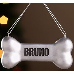 Personalized Silver Dog Bone Ornament