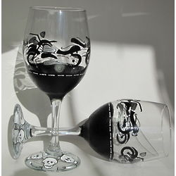 Motorcycle and Skulls Wine Glass