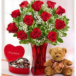Abundant Love Rose Bouquet with Teddy Bear and Chocolates