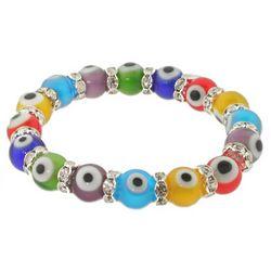 Multicolor Glass Bead Evil Eye Bracelet