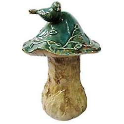 Rustic Mushroom and Bird Figure