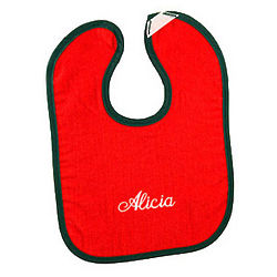 Personalized Red and Green Bright Baby Bib