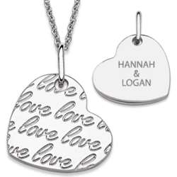Silvertone Love Heart Couple's Engraved Necklace