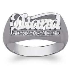 Women's Sterling Silver Name Ring with Diamond Encrusted Tail