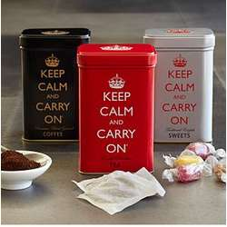 Keep Calm and Carry On Tea, Sweets and Coffee Tins