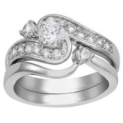 2 Carat Platinum Plated Cubic Zirconia Wedding Ring Set