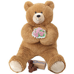 Lil' Hunka Love Teddy Bear with Pink Roses and Fudge