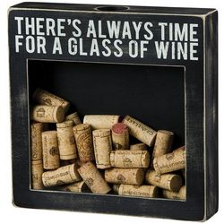 Time for a Glass of Wine Cork Holder Box Sign