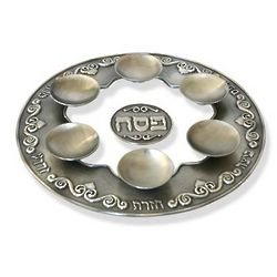 Pewter and Glass Seder Plate