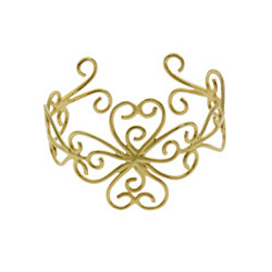 Gold Vermeil Vintage Filigree Design Cuff Bracelet
