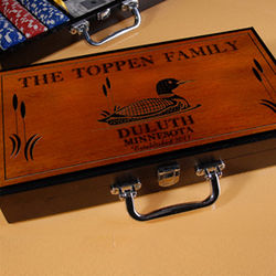 Personalized Cabin Series Poker Set with Wood Duck Image