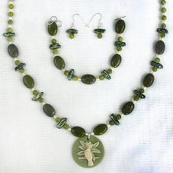 Olive Jade Ovals and Freshwater Pearls Pendant Set