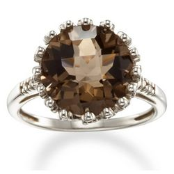 Sterling Silver Smokey Quartz and Diamond Ring