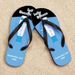 Personalized Blue Tuxedo Beacher Sandal