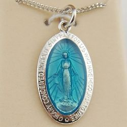 Sterling Silver Blue Miraculous Medal