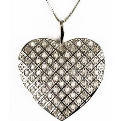 Sterling Silver Heart Pendant with 1.0 Carat Diamonds