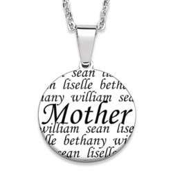 Personalized Stainless Steel Mother with Names Necklace