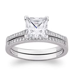 Cubic Zirconia Sterling Silver Princess Cut Wedding Ring