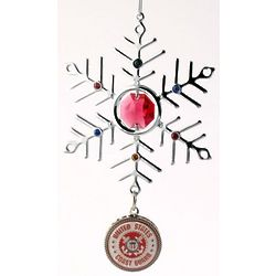 Engraved Red Crystal and Silver Coast Guard Snowflake Ornament