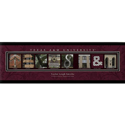 Texas A&M 12x36 Personalized Letter Canvas