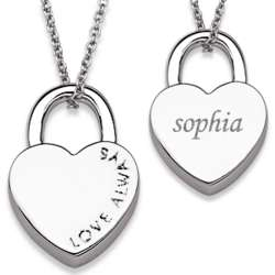 Silvertone Love Always Heart Lock Engraved Name Necklace