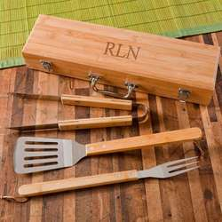Grilling BBQ Set with Monogrammed Bamboo Case